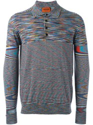 Missoni Striped Polo Jumper Grey