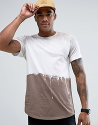 Religion Longline T Shirt With Washed Dripping Paint Detail Taupe Beige
