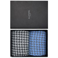 Kloters Milano Light Blue And Grey Houndstooth Socks Pack Blue Grey
