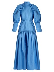 Ellery Sword Bubble Sleeved Cotton Blend Maxi Dress Blue