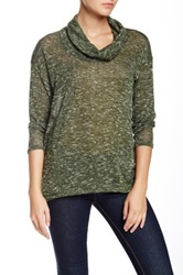 Harlowe And Graham Marled Cowl Neck Sweater Green