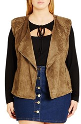 City Chic Plus Size Women's Faux Suede Biker Vest