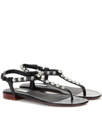 Balenciaga Classic Studded Leather Sandals Black