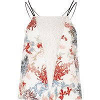 River Island Womens White Floral Lace Insert Cami Pyjama Top