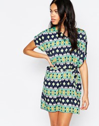 Mela Loves London Geometric Stripe Shift Dress Green