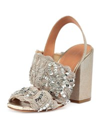 Dries Van Noten Sequin Embellished Woven Halter Sandal Silver