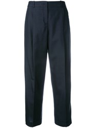 Jil Sander Navy Tailored Cropped Trousers Blue