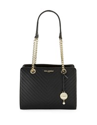 Karl Lagerfeld Charlotte Leather Tote Black Gold