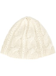Ryan Roche Chain Knit Hat Nude And Neutrals