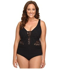 Becca Plus Size Color Play One Piece Black Women's Swimsuits One Piece
