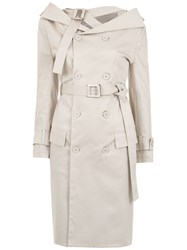 Gloria Coelho Off The Shoulder Trench Coat Nude And Neutrals