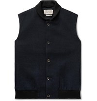 Oliver Spencer Moorland Waffle Knit Wool And Cotton Blend Gilet Blue