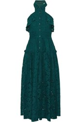 Marissa Webb Pintucked Ruffle Trimmed Corded Lace Midi Dress Emerald