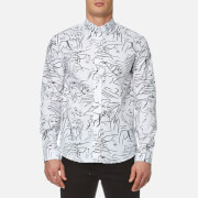 Kenzo Men's Cotton All Over Print Long Sleeve Shirt White