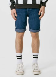 Topman Indigo Slim Fit Jean Shorts Blue