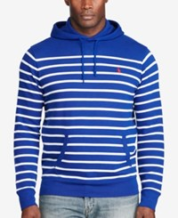 Polo Ralph Lauren Men's Big And Tall Striped French Terry Hoodie Heritage Royal White