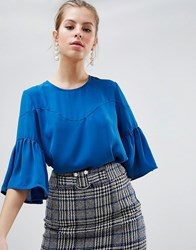 Traffic People Top With Flute Sleeves Blue