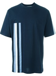 Msgm Stripe Detail T Shirt Blue
