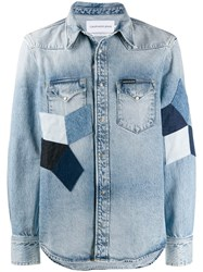 Ck Calvin Klein Quilted Shirt Jacket Blue
