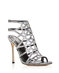 Sergio Rossi Puzzle Metallic Glitter Caged High Heel Sandals Silver
