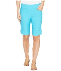 Tribal Stretch Bengaline 10 Bermuda Shorts With Pocket Dark Aqua Women's Shorts Blue