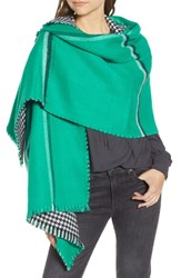 Trouve Double Sided Check Blanket Scarf Green Combo