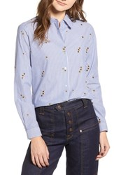 Scotch And Soda Relaxed Fit Star Detail Stripe Cotton Blouse Blue White Pin Stripes