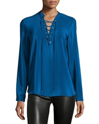 Amanda Uprichard Winslow Lace Up Long Sleeve Top Mystery