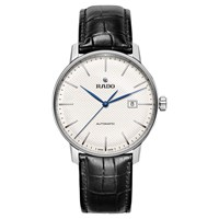 Rado R22876015 Men's Coupole Classic Date Automatic Leather Strap Watch Black Silver