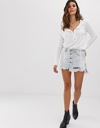 One Teaspoon Button Detail Denim Mini Skirt With Exposed Buttons Blue