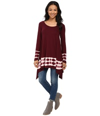 Culture Phit Emma Tie Dye Tunic Wine Women's Blouse Burgundy