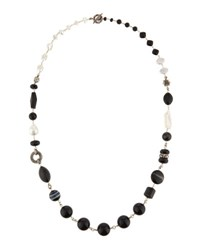 Stephen Dweck Long Black Agate And Freshwater Cultured Pearl Necklace