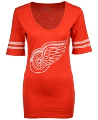 Retro Brand Women's Detroit Red Wings Vintage Sleeve Stripe T Shirt