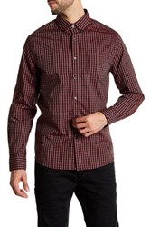 Kenneth Cole Collared Long Sleeve Plaid Woven Shirt Beige