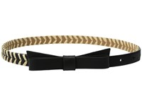 Kate Spade 5 8 Calf Bow Belt W Straw Detail Black Natural Women's Belts