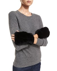 Neiman Marcus Luxury Rabbit Fur Cuffs Black