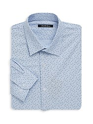 Saks Fifth Avenue Black Floral Dotted Dress Shirt Light Blue