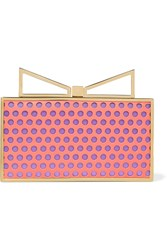 Sara Battaglia Lady Me Laser Cut Leather And Satin Clutch Orange