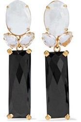 Bounkit Convertible Gold Tone Mother Of Pearl Onyx And Quartz Earrings Ivory