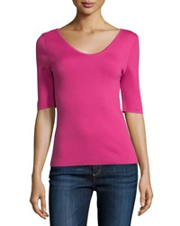 Michael Kors Collection 3 4 Sleeve Scoop Neck Cashmere Top Geranium Women's Size S