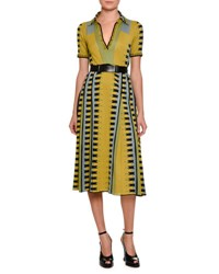 Bottega Veneta Knit Intarsia Polo Dress Chartreuse