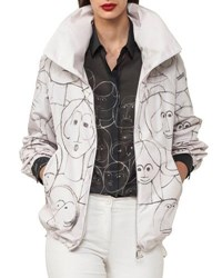 Akris Zip Front Short Parka Jacket With Faces Print Off White