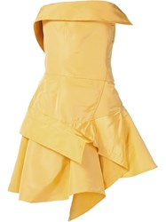 Monse Strapless Cocktail Dress Yellow And Orange