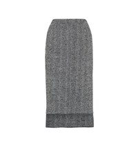 N 21 Tweed Wool Blend Pencil Skirt Grey