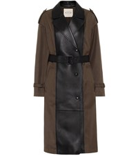 Tod's Gabardine And Leather Trench Coat Green