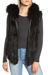 Jocelyn Hooded Genuine Fur Vest Black