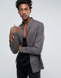 Allsaints Shirt In Slim Fit With All Over Floral Print Washed Black