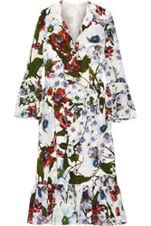 Erdem Connie Floral Printed Silk Crepe De Chine Dress White