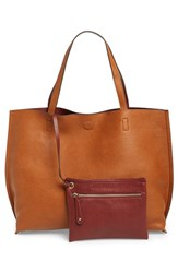 Junior Women's Street Level Reversible Faux Leather Tote And Wristlet Brown Cognac Burgundy