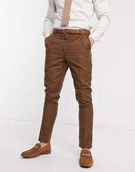 New Look Skinny Suit Trouser In Dark Camel Tan
